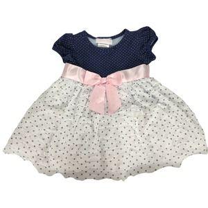 Bonnie baby Girls Frill polka dot dress